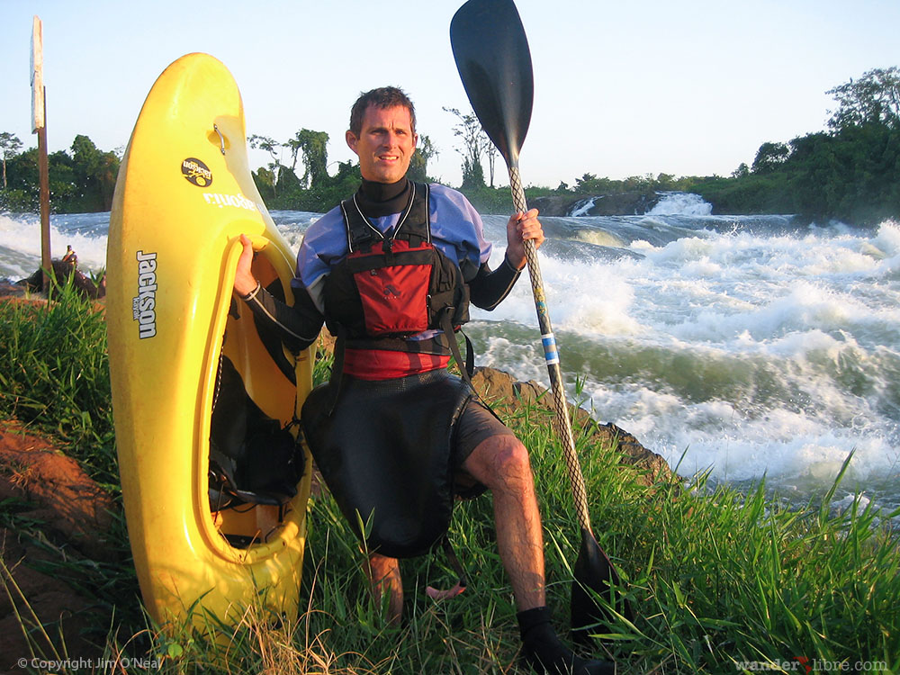 Jim Standing on the Banks of the White Nile River in Uganda After a Morning Spent White Water Kayaking