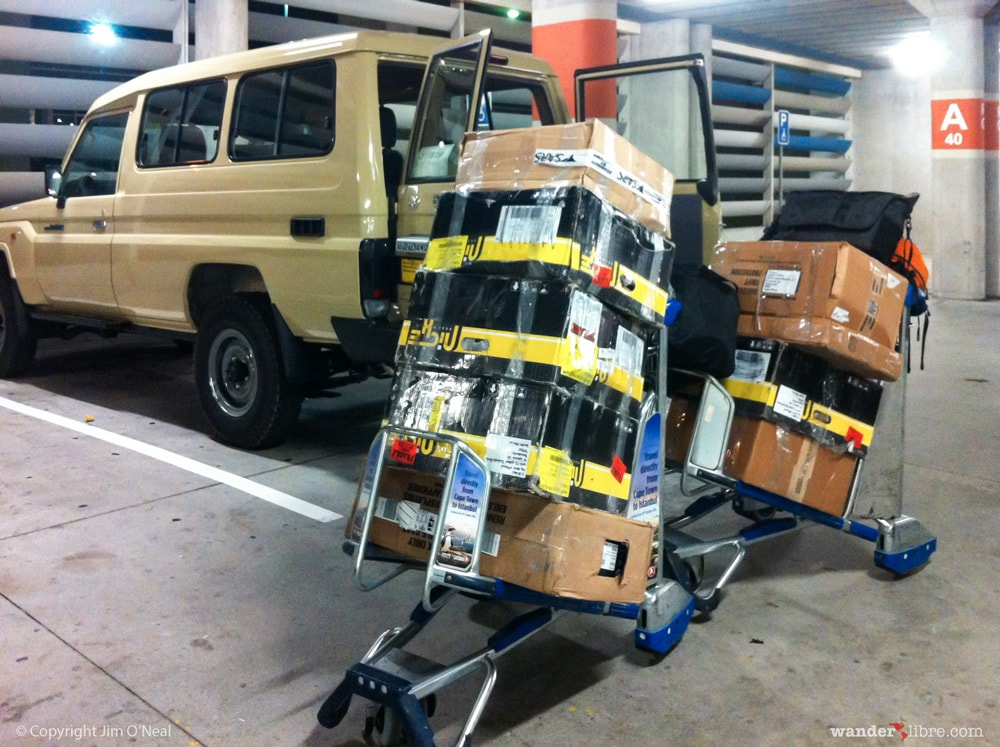 Loading luggage into our new Land Cruiser 78 Series Troop Carrier at Cape Town International Airport, Cape Town South Africa