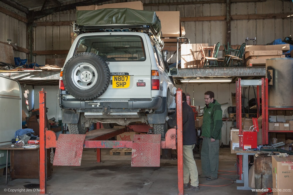 Preparing Betty, our 80 Series Land Cruiser, for Africa, England, 2005