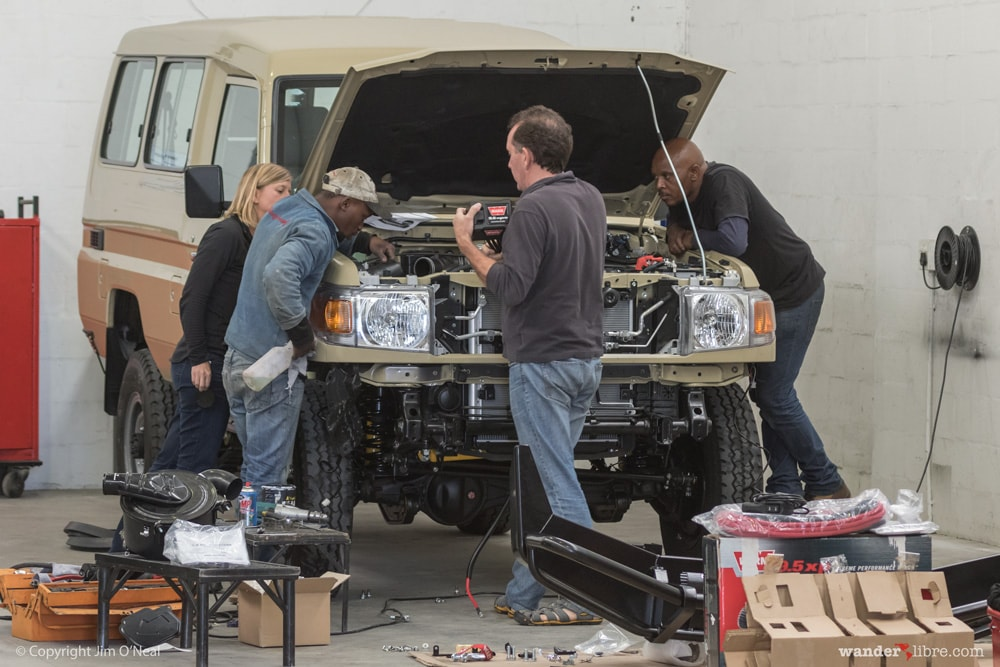 Sheri, Paul, and the R&D Team Discuss Winch Controller Placement During Initial Fitment, Land Cruiser 78 Series Troop Carrier