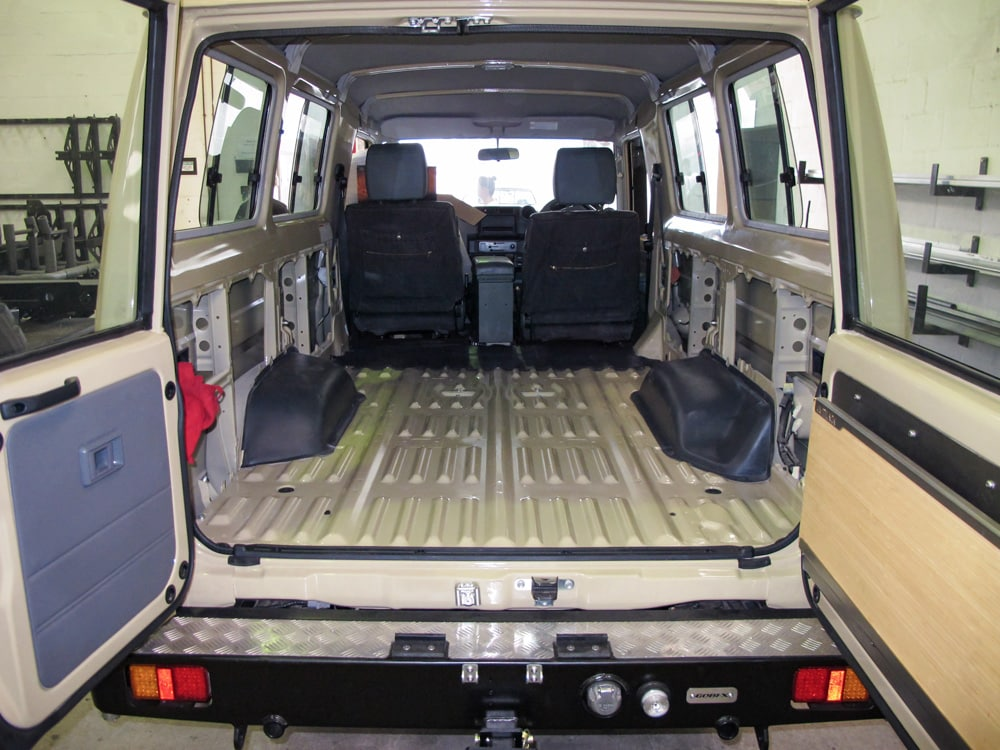 Gutting the interior of a Land Cruiser Troopy in preparation for a new custom interior