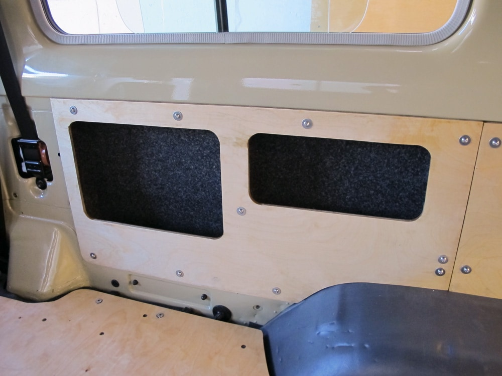 R&D Offroad installing storage compartments inside walls of Land Cruiser Troopy