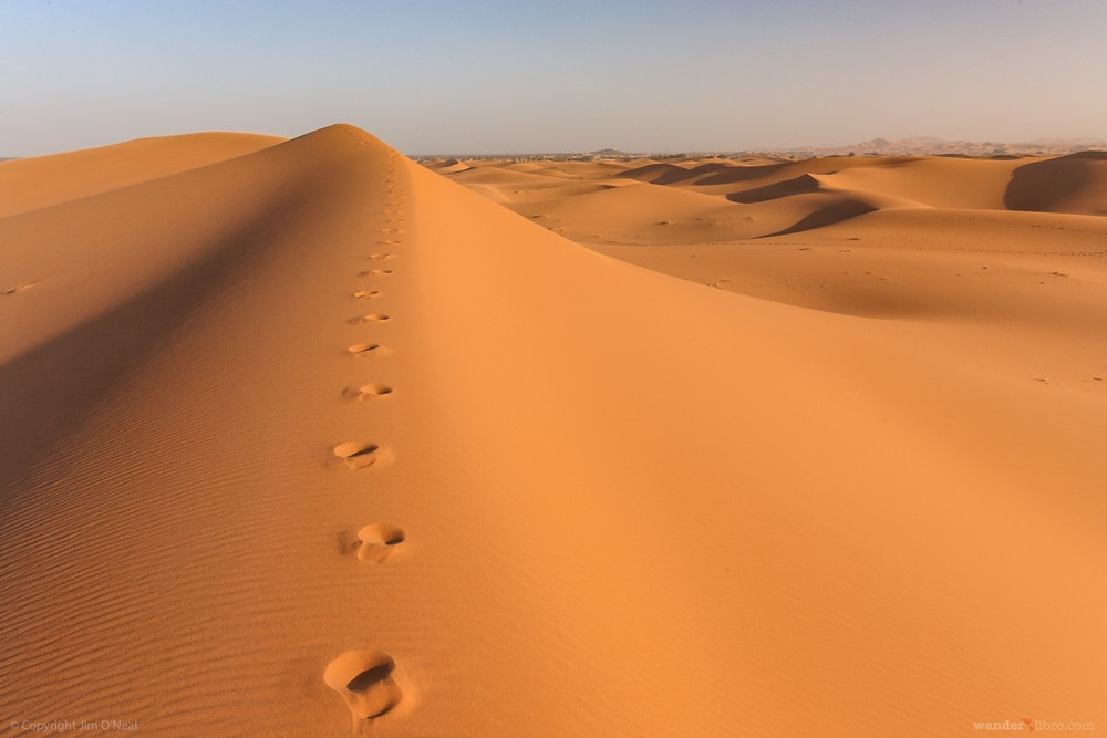 Footsteps Atop the Dunes of Erg Chebbi