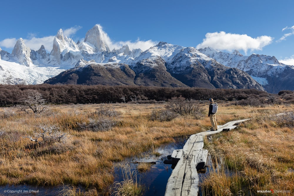 Sheri Stops on a boardwalk to admire the views of Mount Fitz Roy